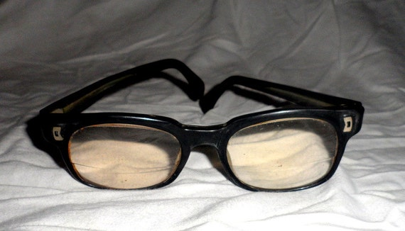 Vintage Eyeglass Frame Restoration : Vintage Old Retro Black Rim Frame Mens Eyeglasses by ...