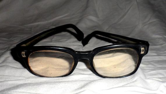 Vintage Old Retro Black Rim Frame Mens Eyeglasses by ...