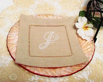 Oatmeal Linen Cocktail Napkins, Choose Your Own Monogram:  Cottage Roses or Elegant or Modern,  Set of 12