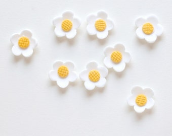 White Gumpaste Flowers (12) Sugar Flower Cupcake Toppers - Cake Decorations
