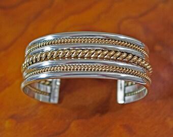 Tahe Navajo Bracelet Silver Gold Filled Cuff