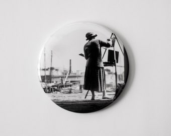 "Boston Harbor Artist - Black & White Reproduction of a Vintage Photograph - 2.25"" Magnet"