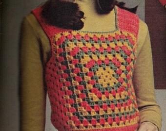 Retro 1970's Granny Vest & Hat PDF Pattern