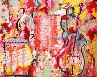Music Lession, Original Mixed Media Oil Ready to Hang Perfect Holiday Gift