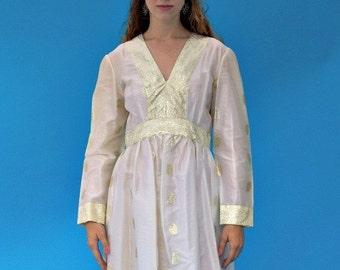 Vintage 1970s Hippie Folk Japanese Gold And White Maxi Wedding Dress