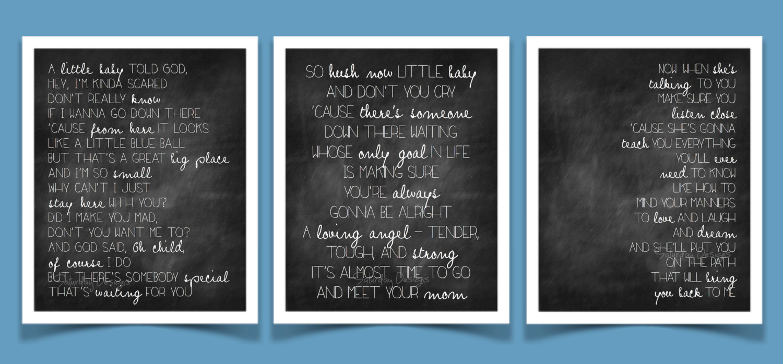 Mom by Garth Brooks song lyrics chalkboard set by