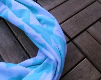 Blue Chevron Infinity Scarf/ Infinity Scarf