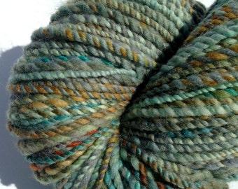 """Handspun Yarn, Hand Dyed Merino Yarn """"Verdigris"""" Merino Yarn - 2 Ply"""