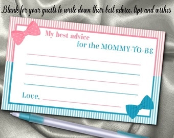 10 Mommy To Be Advice Cards, Baby Gender Reveal Party, Baby Shower, Pink & Blue, Hair Bows and Bow Ties