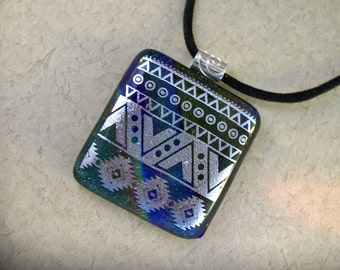 Fused Glass Jewelry - Dichroic Pendant and Necklace - Fused Dichroic Glass Pendant - 65-14