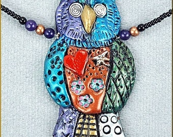 Hand sculpted Owl Doodle Necklace by Critter Craft