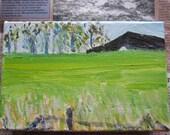 Oxfordshire Countryside - The Ridgeway - Original Painting - Acrylic Landscape - Postcard size