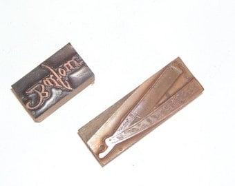 2 Letter Press Printing Copper and Wood Blocks,Image reads Balfore Co. Image of Men's Straight Razor, Vanity, Shaving Razor Wood Block,