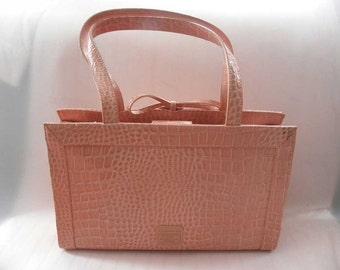 Women's Liz Clairborne Peach Leather Alligator Shoulder Handbag Purse