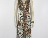 1970's Leopard  and Tiger Dress - Sleeveless Long Slinky Animal Print Dress