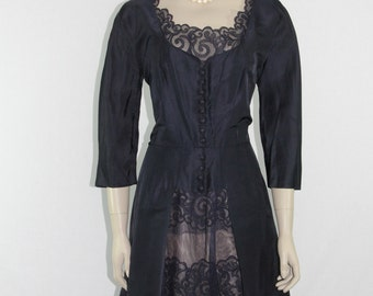 1950s Vintage Dress - Dark Blue Taffeta with Lace Peekaboo Cutout Skirt - 40 / 33 / 44