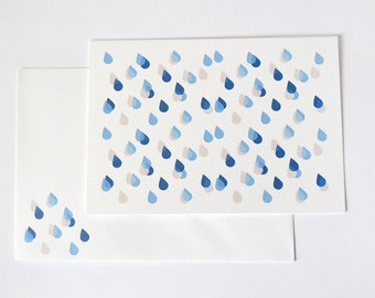 Little Rain Card with matching envelope - Dark blue, light blue, pale beige
