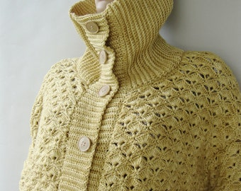 Cashmere Cardigan, Pashmina Cardigan, Yellow Cardigan, Women's Cardigan Sweaters, Winter Wheat Yellow, Hand Crocheted, Available in M/L