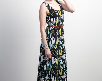 Cactus Maxi Dress in Dusty Pink, Yellow Ochre, Blue Mint and Green on Black