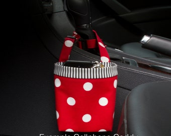 CAR CELLPHONE CADDY, Red and White Polka Dots, Cellphone Holder, Sunglasses Case, Mobile Accessories, Beach Chair Bag, Golf Gift