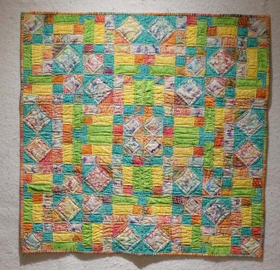 Batik pastel baby quilt wall hanging