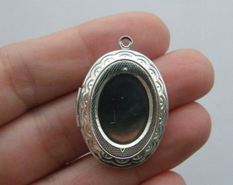 1 Locket pendant 34 x 24mm silver plated