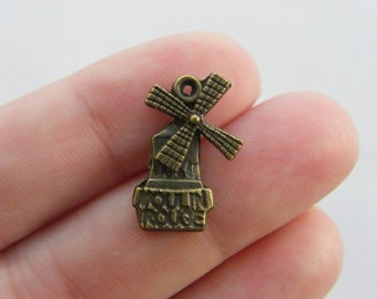 8 Windmill charms antique bronze tone BC27