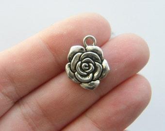6 Rose charms tibetan silver F26