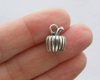 4 Pumpkin charms  antique silver tone FD284