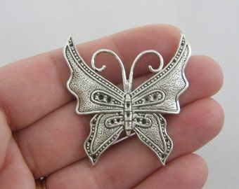 2 Butterfly pendants antique silver tone A358