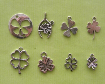 The Four Leaf Clover Collection - 8 different antique silver tone charms