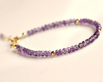 Genuine amethyst bracelet, gold filled amethyst bracelet, purple bracelet, gift for her