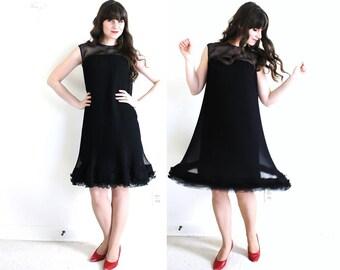60s Dress / 1960s Black Cocktail Dress / Black 60s Mod Tent Dress