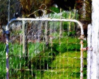The Country Gate mixed media impressionistic painting, spring decor, nostalgic art, home decor, vintage gate