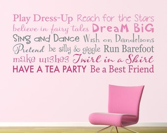 Girls Rules Wall Decal - Play Dress Up - Have a Tea Party - Multiple Color Version - Horizontal Large