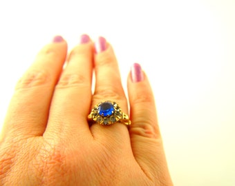 Blue Paste Ring - 10k Gold - 1920s Jewelry - Vintage