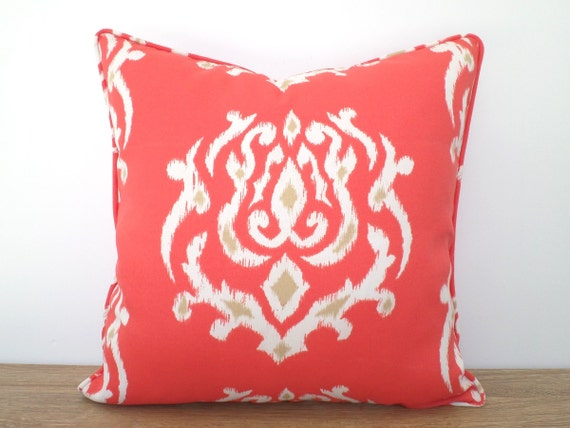 coral outdoor pillow case 20x20 ikat cushion for by anitascasa. Black Bedroom Furniture Sets. Home Design Ideas
