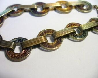 Vintage filigree 800 silver link bracelet with blue & copper sheen - 7.75 inchesx