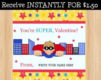 Valentine Superhero  favor tag INSTANT DOWNLOAD
