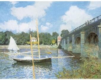 Hand-cut wooden jigsaw puzzle. BRIDGE ARGENTEUIL. Claude Monet. Impressionist. Impressionism. Wood, collectible. Bella Puzzles.