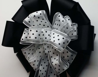 Wedding Pew Bows White with Black Dots Wired Ribbon over Black Acetate Satin Hand Tied