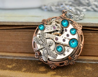 steampunk necklace, THE TIME TRAVELER, antique watch movement necklace with blue zircon rhinestones and dragonfly charm
