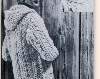Vintage Knitting Pattern - Aran Fisherman Chunky Hooded Sweater//Cardigan - Sizes 14-16