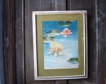 Vintage watercolor, original waterlily , pond  lily pad by Tamara B  , from SaffronColoredPony