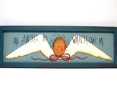Angel Sign, Primitive, Handpainted Wood, Home Decor Wall Art
