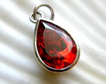 Sterling silver and orange cubic zirconia teardrop pendant - vintage jewelry