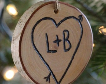 Christmas Personalized Ornament - Heart Rustic Birch -   Couples Wedding Gift - First Christmas