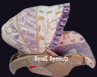 Cutie Lilac Owl/Lilac Damask/Lilac Minky Dot Infant Car Seat Cover 5 Piece set