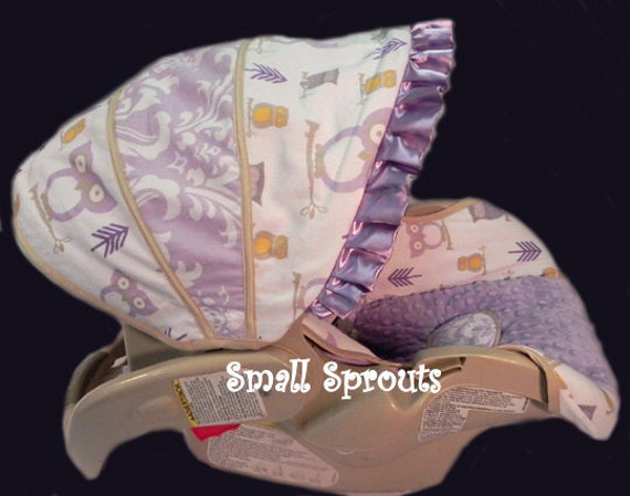 items similar to cutie lilac owl lilac damask lilac minky dot infant car seat cover 5 piece set. Black Bedroom Furniture Sets. Home Design Ideas