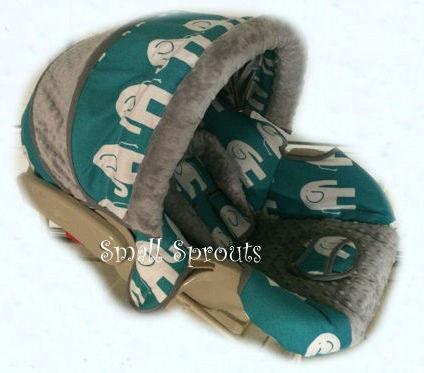 AlexTurquoise Elephant Grey Minky Dot Infant Car Seat Cover 5